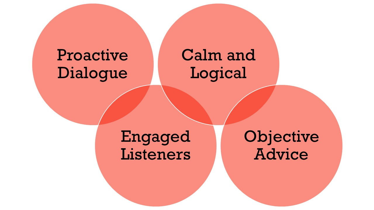 Proactive dialogue, being an engaged listener, and keeping calm and logical leads to objective advice that benefits a client the most
