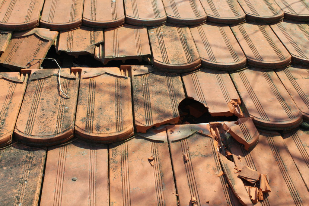 Cracked roofing tiles
