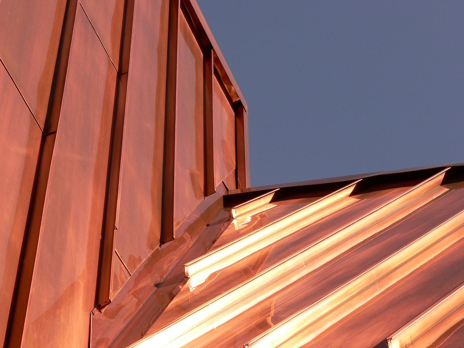 copper roof on store in banff township, banff national park, alberta, canada.