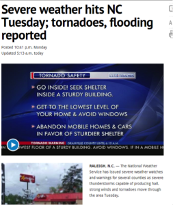 Severe weather hits NC Tuesday