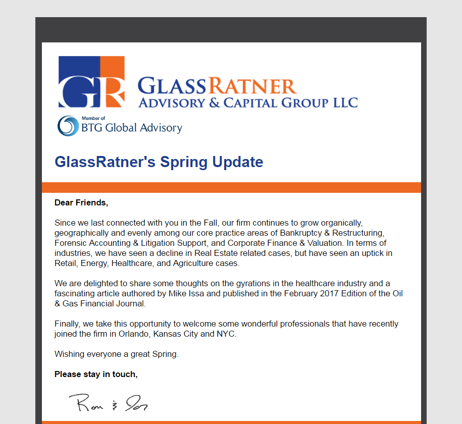 GlassRatner's 2017 Spring Newsletter