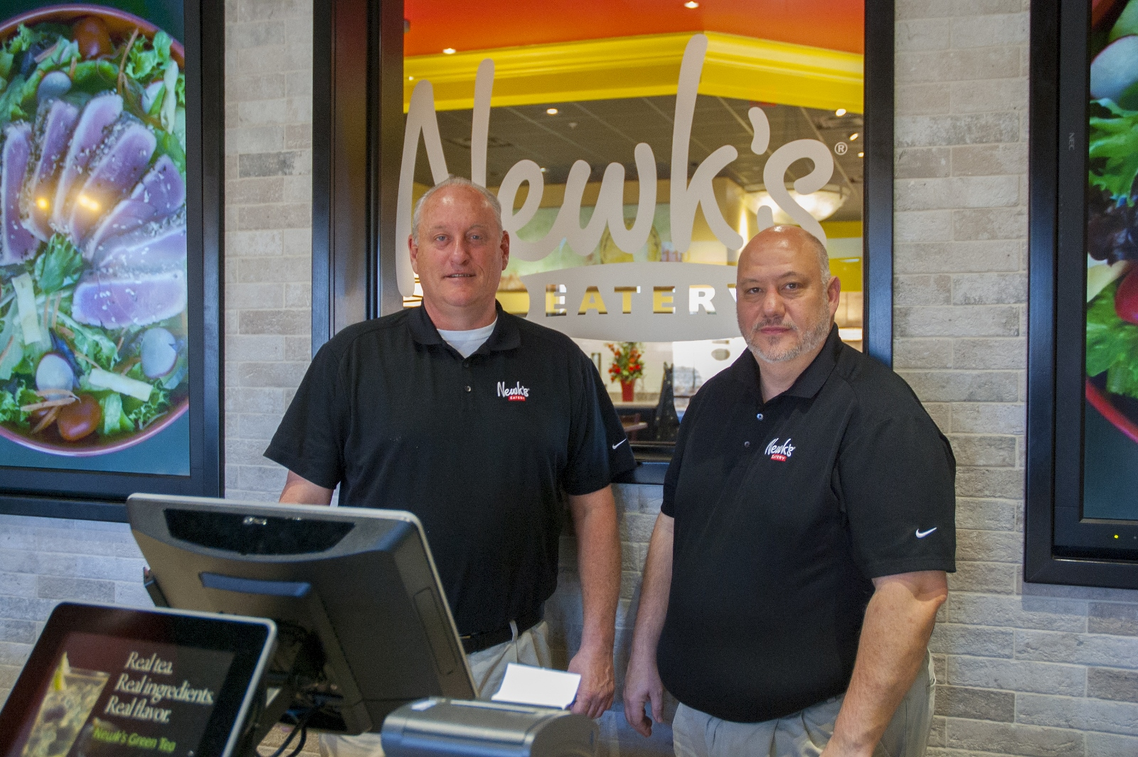 Gary Fortenberry (left) and Jay Wilson found MUST Ministries in Canton to be an excellent partner when they needed to hire almost 60 employees for their brand-new Newk's Eatery on Cumming Highway in Canton. (MUST photo)