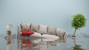 Water damager after flooding in house with furniture floating (3