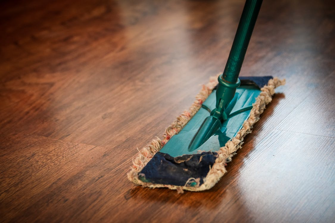 wood floors with mop