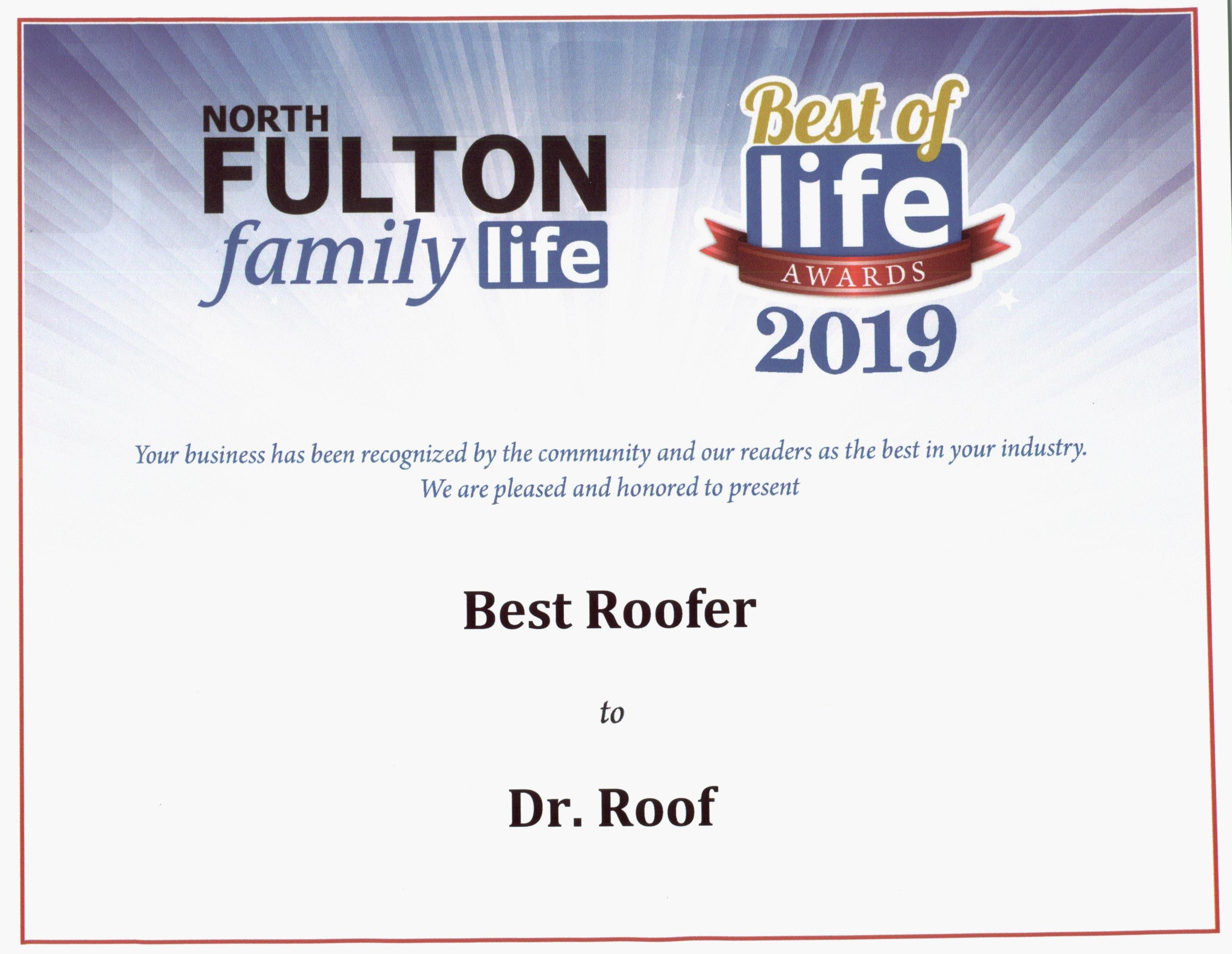 Dr Roof Wins North Fulton Life Award