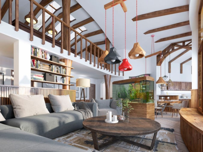 Living room with different ceiling heights