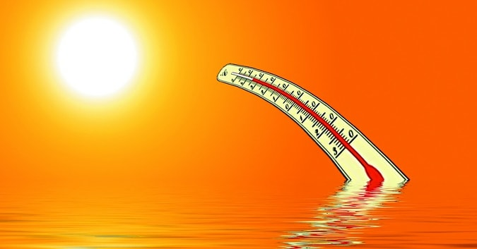 Thermometer Bending Toward Sun