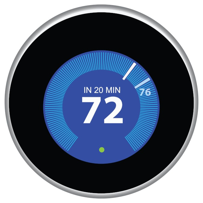 Smart thermostat set to 72 degrees