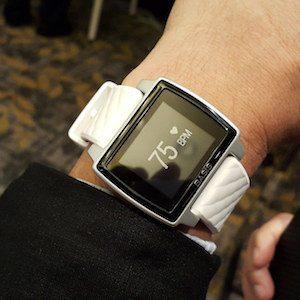 a fitness tracker worn on a wrist