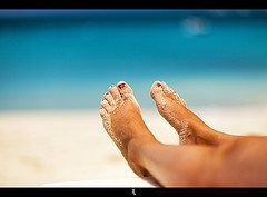 Healthy feet on the beach
