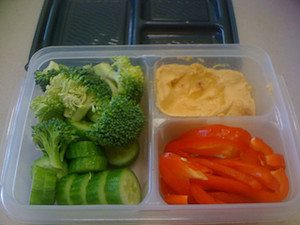 Fresh veggies and hummus are convenient healthy snacks on the go