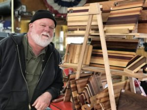 David Shannon with some of his woodwork he does at the family store Cook & Shannon Building Supply in Winchester.