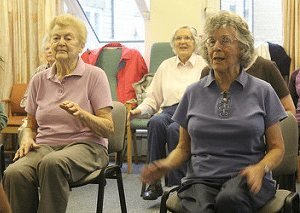 Senior citizen group exercise class