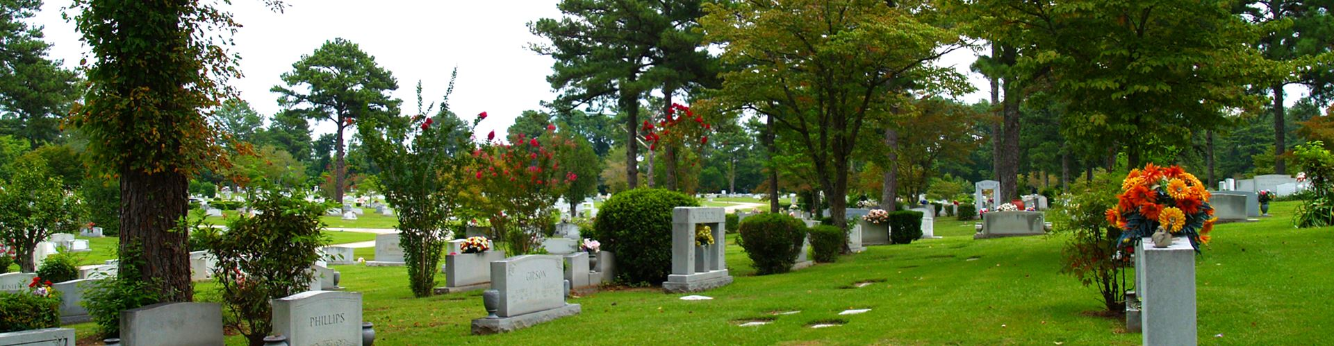 Cemetery with lawn crypts