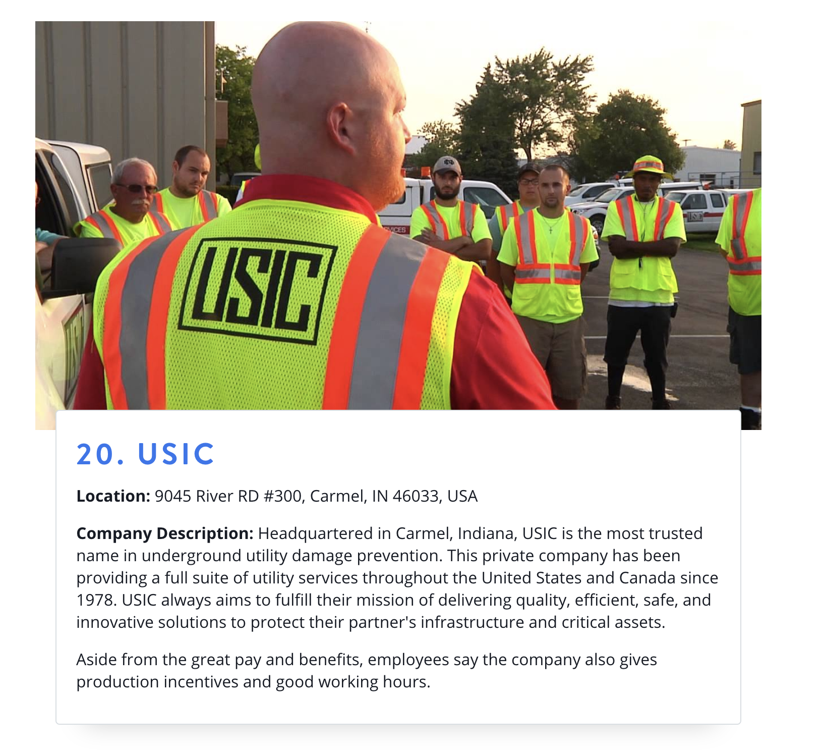 USIC:  Top 20 Companies To Work For In Carmel, Indiana