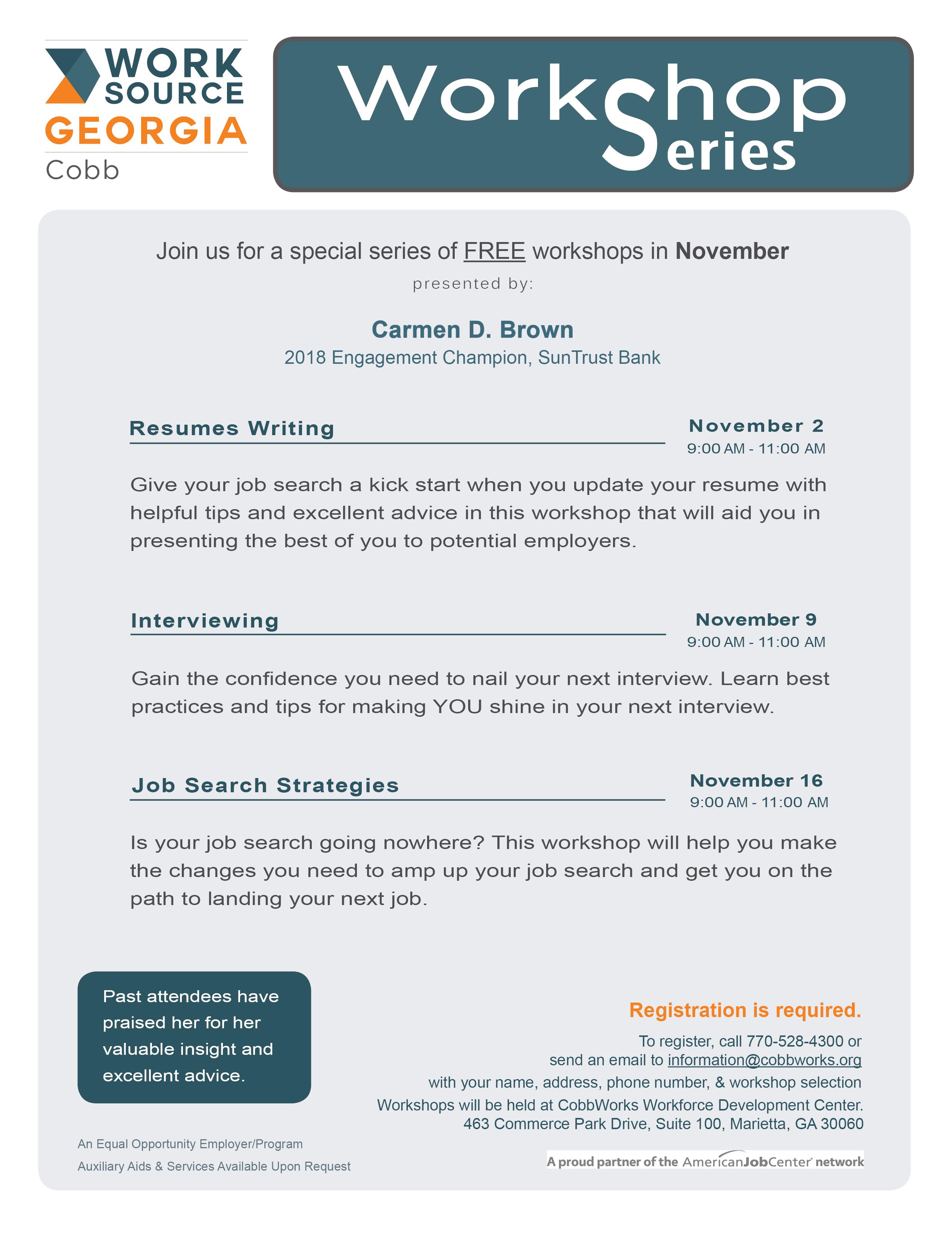 Resume Writing Workshop Worksource Cobb