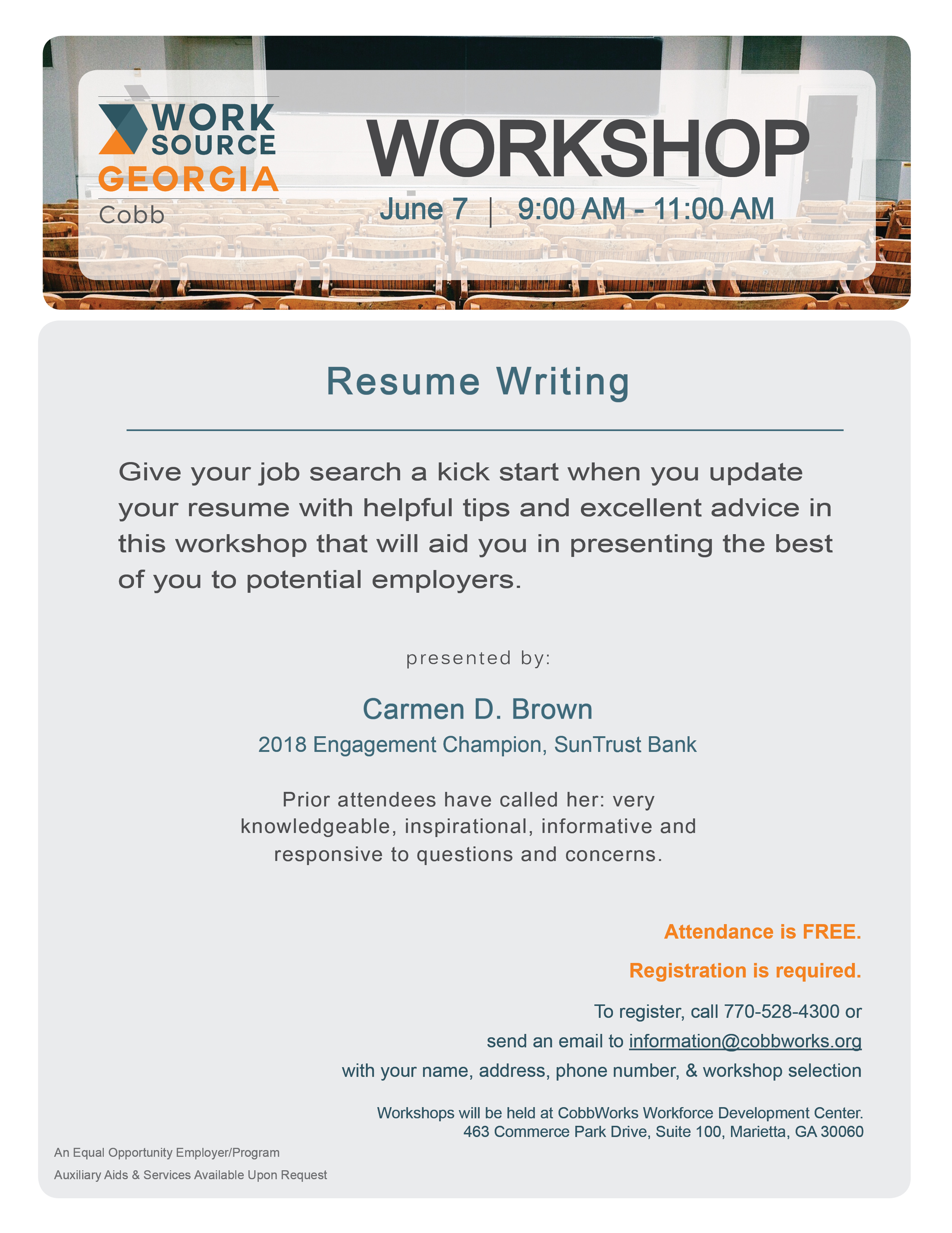 Resume Writing Workshop Worksource Cobb
